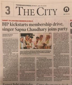 BJP Kickstarts membership drive, singer Sapna Choudhary joins party