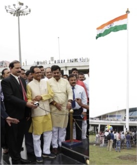 National flag to fly on 100 ft. high post at Raja Bhoj Airport